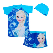 Retail blue anna elsa sister rash guard kids short sleeve swimsuit for girls sun protection anti-uv swimwear Surfing clothes
