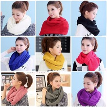 Women's Men Winter Warm Infinity 2Circle Cable Knit Cowl Neck Long Scarf Shawl