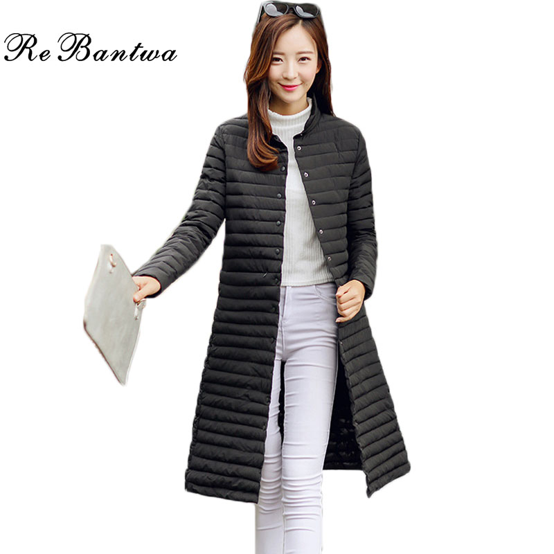 Rebantwa Winter Jacket Women Long Coats Chic Collarless Long Sleeve Single Breasted Solid Color Down Coat for Women Coat ParkasОдежда и ак�е��уары<br><br><br>Aliexpress