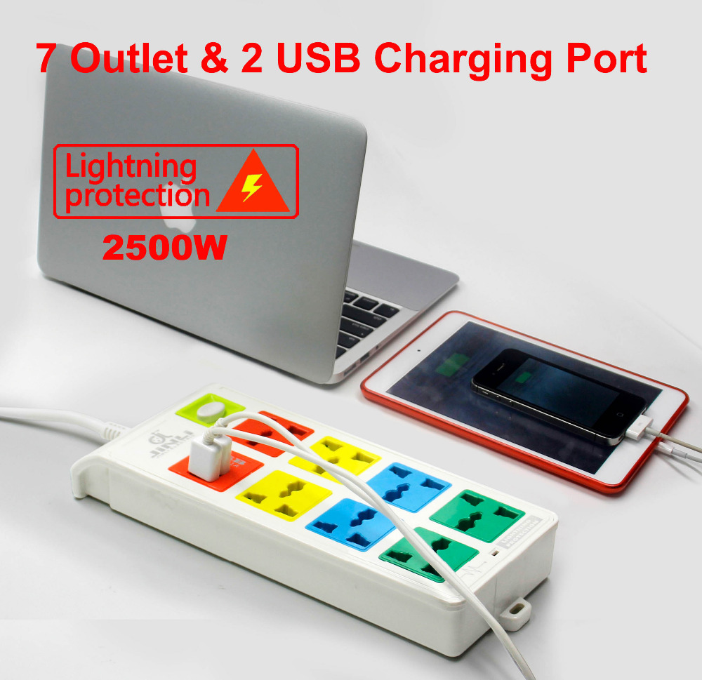 3M Length 8 Ways Universal pinboard  2 USB Charger Ports with EU UK US BR IL AU<br>