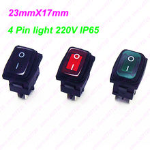 1PC KCD6 Panel Size 23 x 17 mm 4Pin Perforate ON - OFF IP65  Rocker Switch Power Switch With 220V light