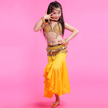 2017 New Paillette Costume 3 Piece(Bra+Dress+Waist Chain) Dance Belly Dance Red/Rose/Yellow Dance Hip Scarf Fringe Free Ship