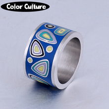 Fashion Enamel Jewelry, 13mm wide Stainless Steel Ring, Big Fashion Titanium Steel Ring, Wholesale Jewelry Supplier