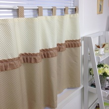 Chocolate ice cream theme Wave point country fresh rustic kitchen curtains for living room bedroom short coffee curtain blinds