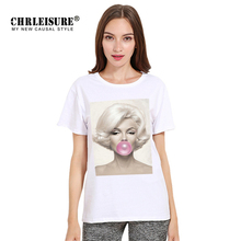 Chrleisure Character T-shirt Marilyn Monroe Eat Bubble Gum 3D Print Tops Women Tee Shirt Summer Casual T-shirt Female