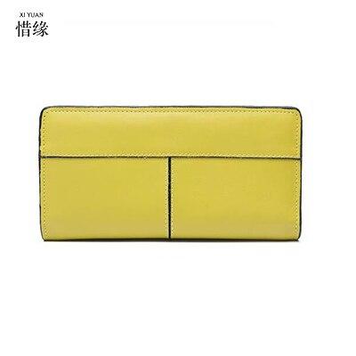 XIYUAN BRAND Women Wallets Fashion Lemon yellow Genuine Leather Wallets Women Clutch Wallets Lady Vintage Clutch Bag Coin Purse <br>