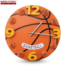 12 Inch Creative Football And Basketball Wall Clock Boys Bedroom Wall Watch Plastic Modern Mute Sports Clock Wall(China)