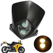 Universal Motorcycle ATV Street Dirt Bike Streetfighter Head Lights Motorbike Headlight Lamp Halogen Bulb Black Case