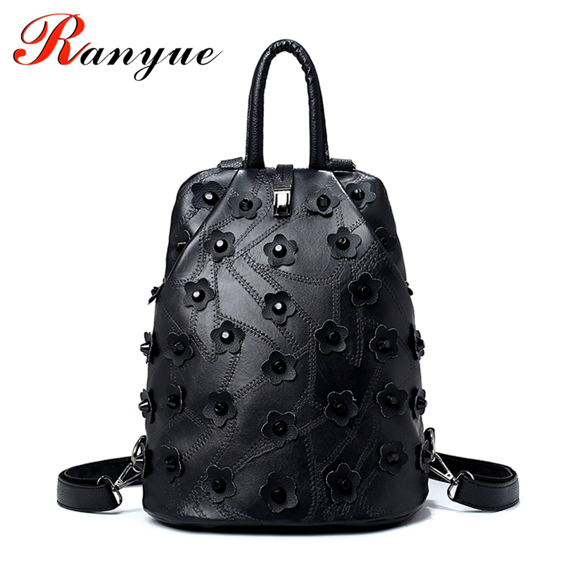 Rivet Flower Floral Women Backpacks Patchwork Backpack Women Black PU Leather Backpack Luxury Brand School Bag Girl Back Pack<br><br>Aliexpress