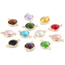 High Quality 10mm Gold Color Crystal Birthstones Gemstone Connector Charms For Jewelry Making DIY 20pcs(China)