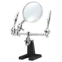 New Precise Angle Design Helping Hand Magnifying Glass 2 Alligator Clamps Loupe Desk Magnifier Lamp Jewelry Watch Repair Tool(China)