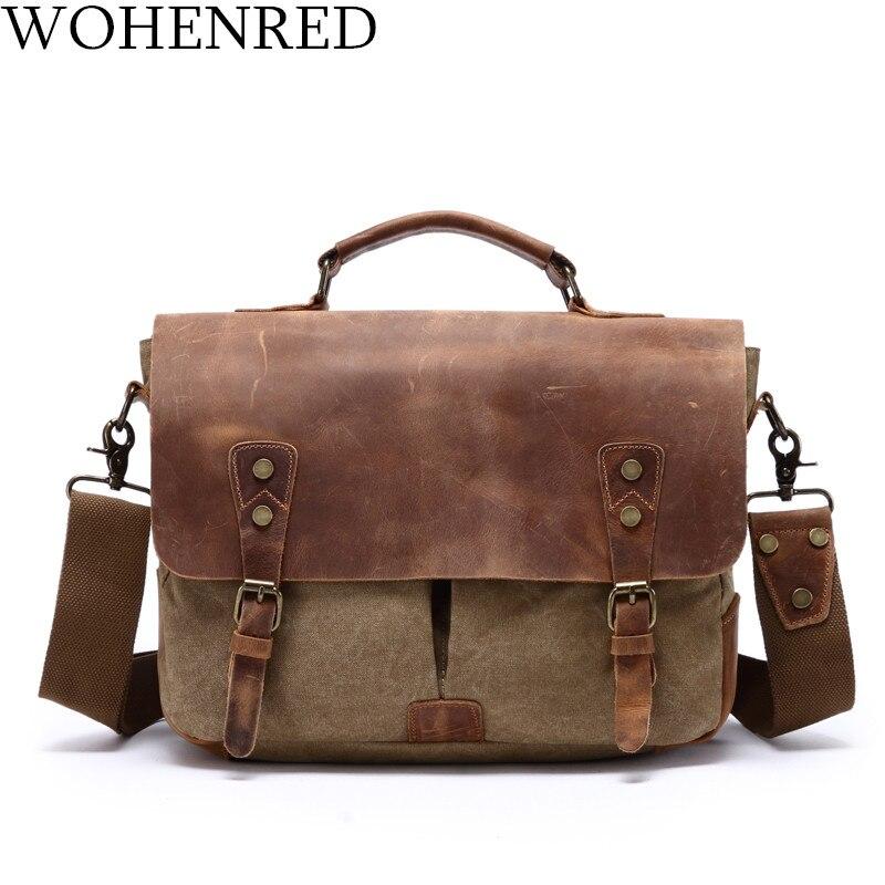 Mens Leather Canvas Laptop Bag Messenger Shoulder Business Briefcase Handbag Bag