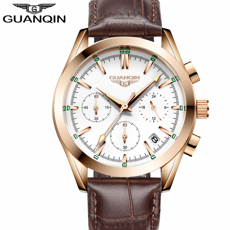2018 GUANQIN Top Brand Luxury Chronograph Clock Watches Men waterproof Casual Leather Strap Quartz Wrist Watch relogio masculino<br>