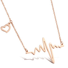 High Quality Stainless Steel Maxi Necklace Electrocardiogram Short Necklaces & Pendants Peach Heart Rate Statement Necklace(China)
