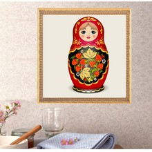 DIY Russian Nesting Matryoshka Doll red Diamond Embroidery Painting Cross Stitch Home Decor 30*30cm