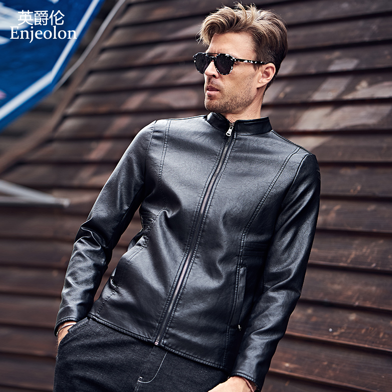Enjeolon brand 2017 new Motorcycle male PU Leather Jackets man, zipper Stand collar overcoat Male Casual black Coats P306(China (Mainland))