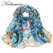 Neelamvar New 2017 Casual geometric Scarf Women Gradual Chiffon Silk Wrap Foulard Long Soft Female Scarves Brief Beach Towel(China)