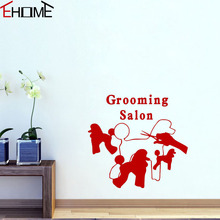 EHOME Grooming Salon Wall Decals Animals Creative Vinyl Art Wall Stickers Dogs Pet Shop Wall Decor(China)