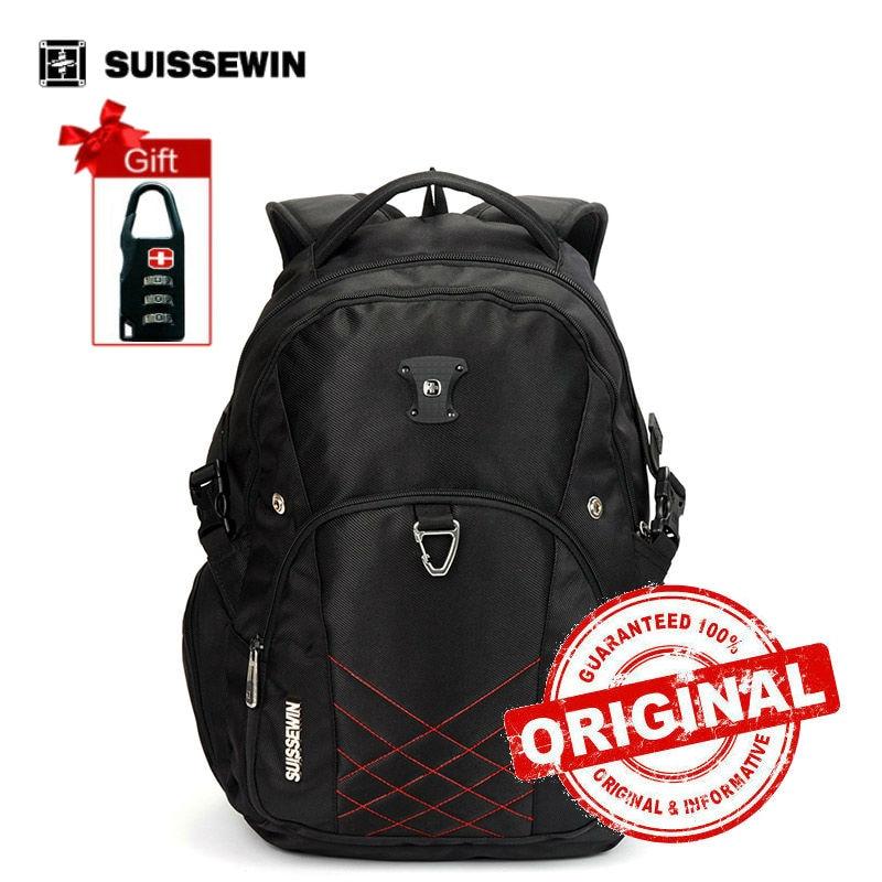 Suissewin swiss Laptop Backpack Male Brand Man Backpack Waterproof laptop Backpack Bag School Black Bagpack Sac a dos sn7036<br>