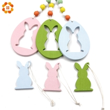 6PCS DIY Pretty Egg&Rabbit Wooden Pendants Ornaments Wood Craft Home Decor Ornament Birthday/Easter Party Decoration Easter Gift(China)
