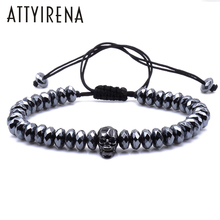 Brading Macrame Rhombus Cut Hematite Beads Bracelets Zircons Skull European American Weaving Mens Bracelets Punk Hiphop Jewelry(China)