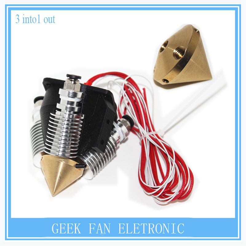 Multi Color Multi nozzle brass nozzle extruder nozzles with heatsink  printer house full kit  0.4mm for 1.75mm<br><br>Aliexpress