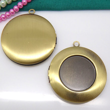 Wholesale 2piece Antique Bronze inner 20mm Brushed Finishing Photo Locket Jewelry Connectors for Cameo Cabochons