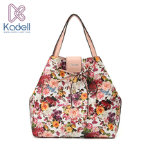 Kadell New 2017 Fashion Fresh Flower Women Shoulder Bags Luxury Handbags Designer Leather High Capacity Tote Vintage Bucket Bags