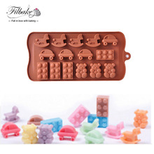 Horse Car Bear Shoes Shape 3D Muffin Sweet Candy Jelly Fondant Cake Decorating Chocolate Mold Silicone Tool Ice Mould Baking DIY
