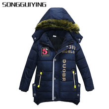 SONGGUIYING A95 Fashion Boy Winter Jackets Down Coats Child Hooded Jacket Baby Kid Warm Clothes Coat Long Children Outerwear