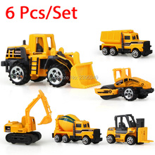 New 6pcs/lot Mini Engineering Pull Back Toy Excavator Forklift Burrow Truck Dump Truck Crane Charging Road Roller Kid Xmas Toys(China)