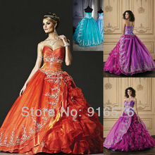 Discount Pageant Skirts Organza Quinceanera Dresses Gown Purple Floor Length Sweetheart Tiered Overlay Applique Beaded