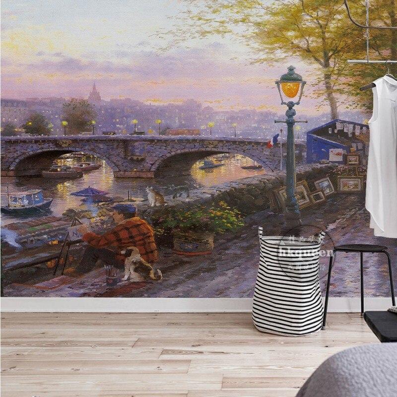 European retro street old man landscape oil painting living room lobby custom wallpaper 3D bedroom hotel mural<br><br>Aliexpress