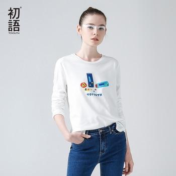 Toyouth 2017 nueva camiseta de la llegada mujeres del o-cuello de manga larga de algodón delgado básico tees personaje femenino casual tops