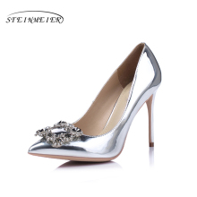 Women Silver high heels wedding shoes elegant rhinestone thin heel 10cm 8.5cm patent leather sexy pumps elegant sexy shoes(China)