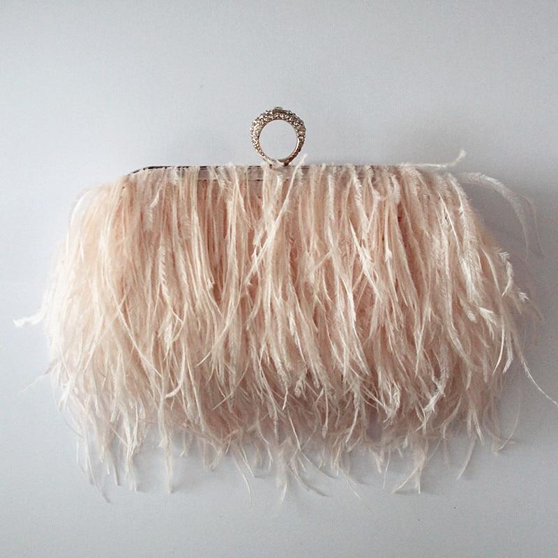 2017 Women messenger bag brand fashion wallet elegant Ostrich feather shoulder bag lovely sweet Bridesmaid handbag Luxury Clutch<br>