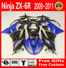 Ems free ZX6R 2009 2011 2010 Fairing kit For Kawasaki ninja Fairings ZX 6R 09 10 11 blue/black g64