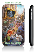 2016 New cute Zootopia Phone Cover white hard cases for IPHONE 3 3GS free shipping