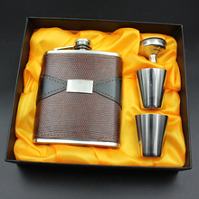 7oz Hip Flasks Sets Flagon Russian Whiskey Vodka Wine Kettle+Funnel+Drinking Cup Liquor Kits Portable Alcohol Mug Bottle Gifts