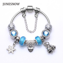 2017 fashion Queen Silver plated chain Jewelry Charms  Bracelet & Bracelet With blue Beads For Women fit mother's day gift