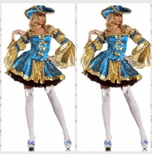 Blue Gold Pirates of the Caribbean cosplay fashion Halloween carnival women Pirates sexy costume Halloween Christmas Costume(China)