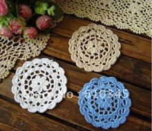 wholesale 100% cotton COLORFUL Doily hand made Crochet cup mat, ,cup pad,coaster 11CM round 20 PCS/LOT CD018(China)