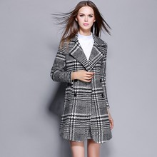 Autumn Ladies Winter Coat for Women Outerwear Clothing Long Black and White Plaid Female Clothes Double Breasted