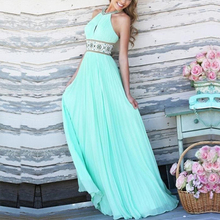 2017 New LASPERAL Summer Dress Women Sexy Sleeveless Blue Pleated Halter Dress Ladies Floor Length High Waist Beach Bar Dress