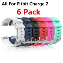 (6 Pack ) Replacement Silicone Rubber Band Strap Wristband Bracelet For Fitbit CHARGE 2 Small or Large Size