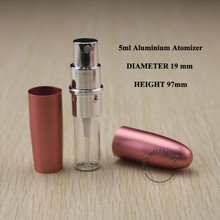 Bullet Design 30 x 5ml Cute Aluminium+Glass Spray Bottle 5g Mini Pink Cosmetic Bottles Portable Refillable Perfume Atomizer(China)