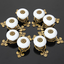 8Pcs Furniture Handle Ceramic Cabinet Knobs and Handles Door Cupboard Drawer Kitchen Pull Handle Furniture Fitting Bronze White(China)
