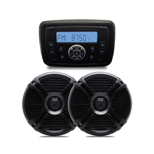 Waterproof Audio MP3 Radio FM AM Bluetooth Music Stereo+ 1Pair 6.5'' Marine Boat Waterproof Speakers for Outdoor Marine Boat(China)