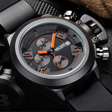 2017 MEGIR Men Watches Luxury Brand Top CHRONOGRAPH Watches Silicone Black Megir Quartz Clock Men Wrist Watch Man Relojes Hombre