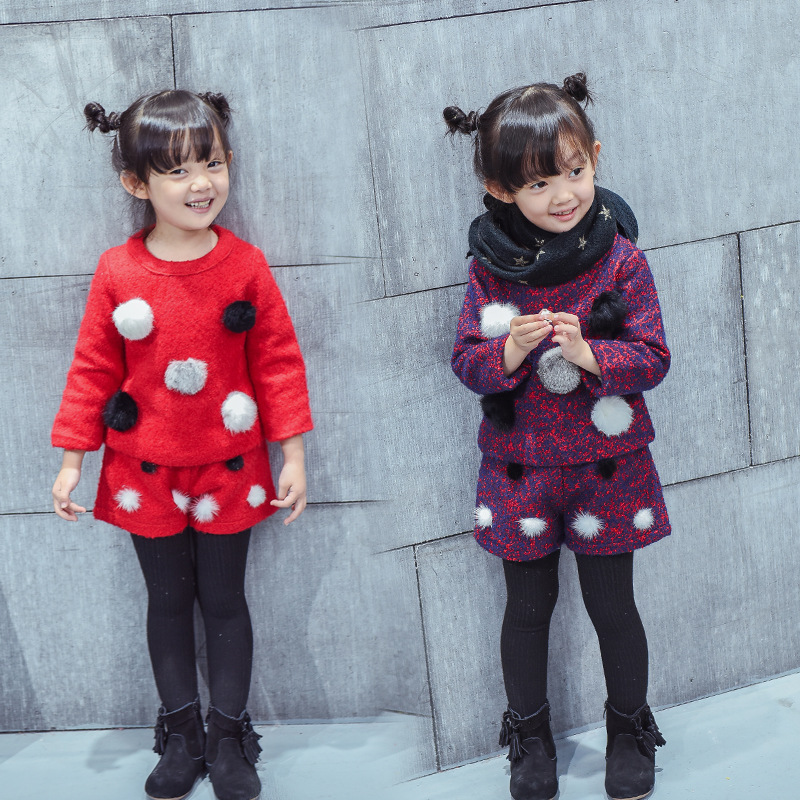 Children Girls Clothing Sets 2 Pcs Thicken Wool Ball Coat + Short Pants toddler girl winter clothingchristmas outfit girls coat<br><br>Aliexpress